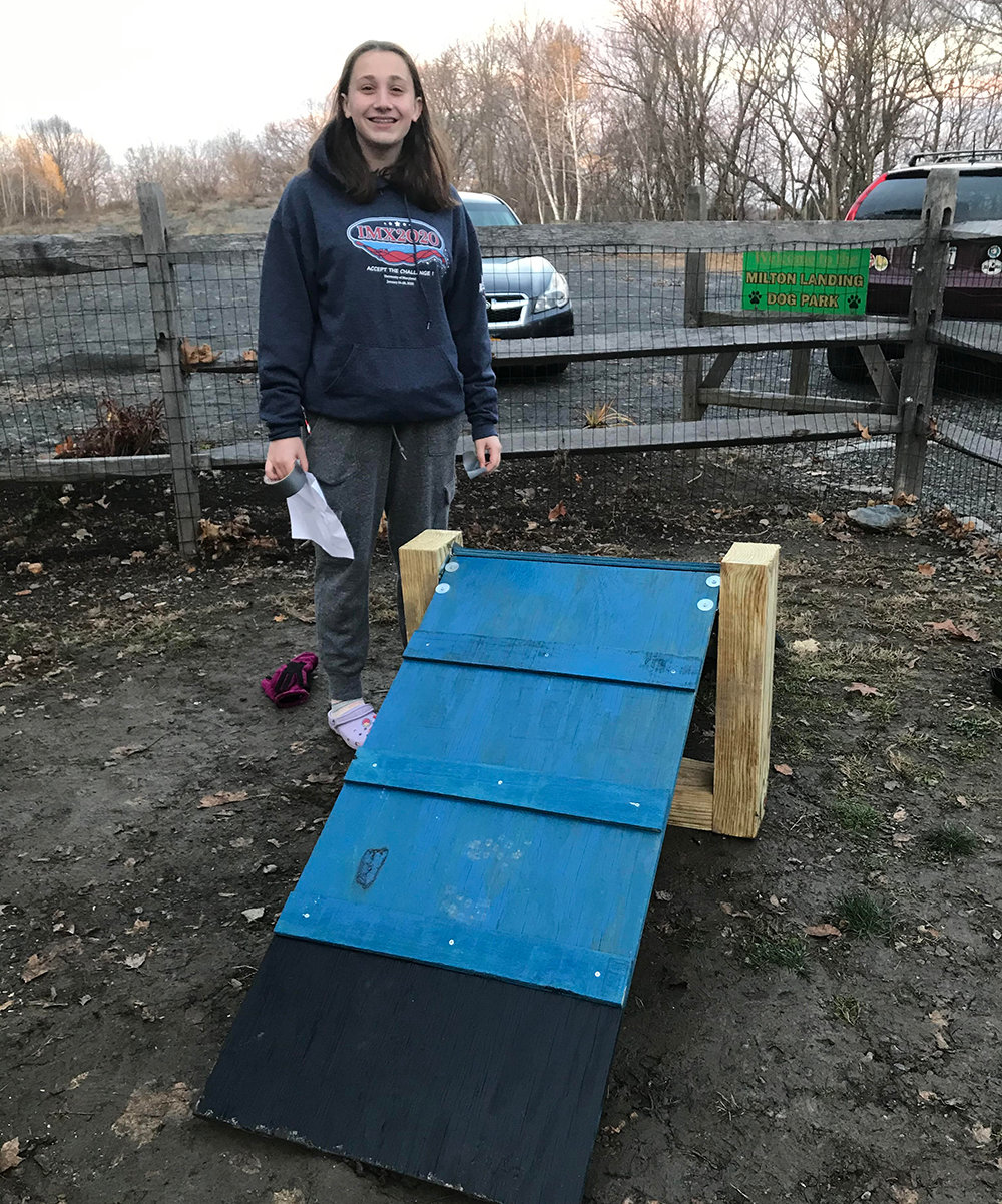 Emersyn Lazar installed a small dog ramp at the Milton Dog Park.