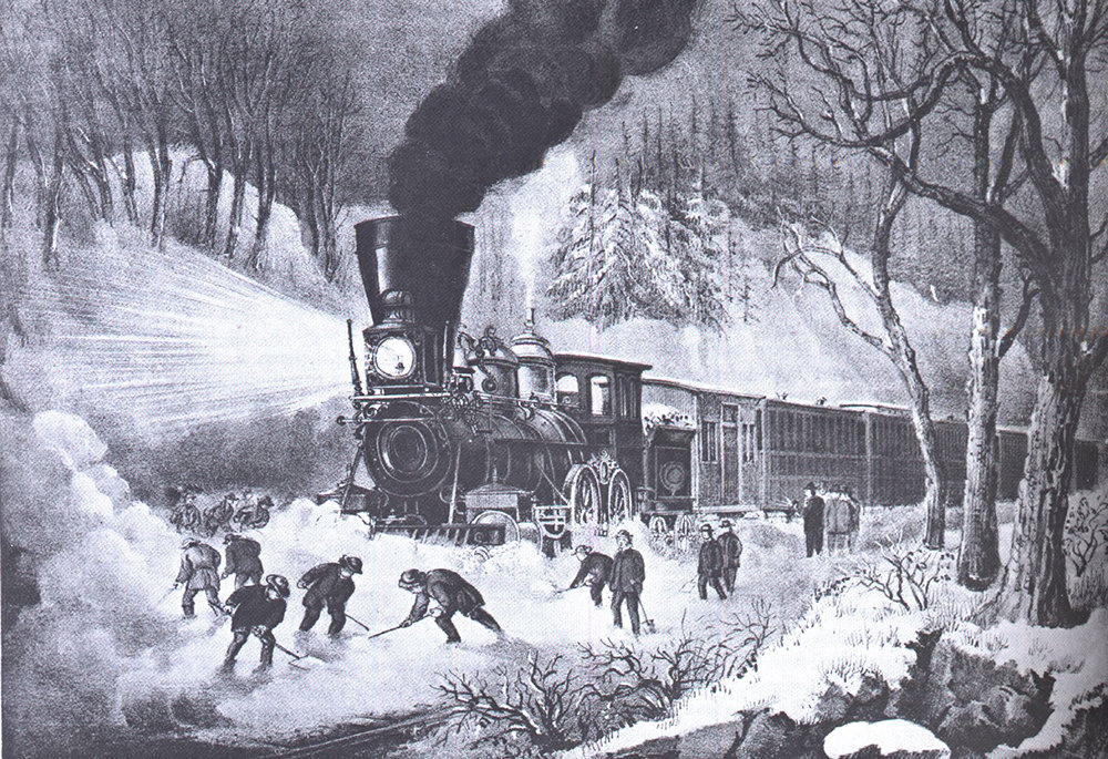 Freeing a snowbound train in the mid-nineteenth century, as depicted by Currier & Ives.