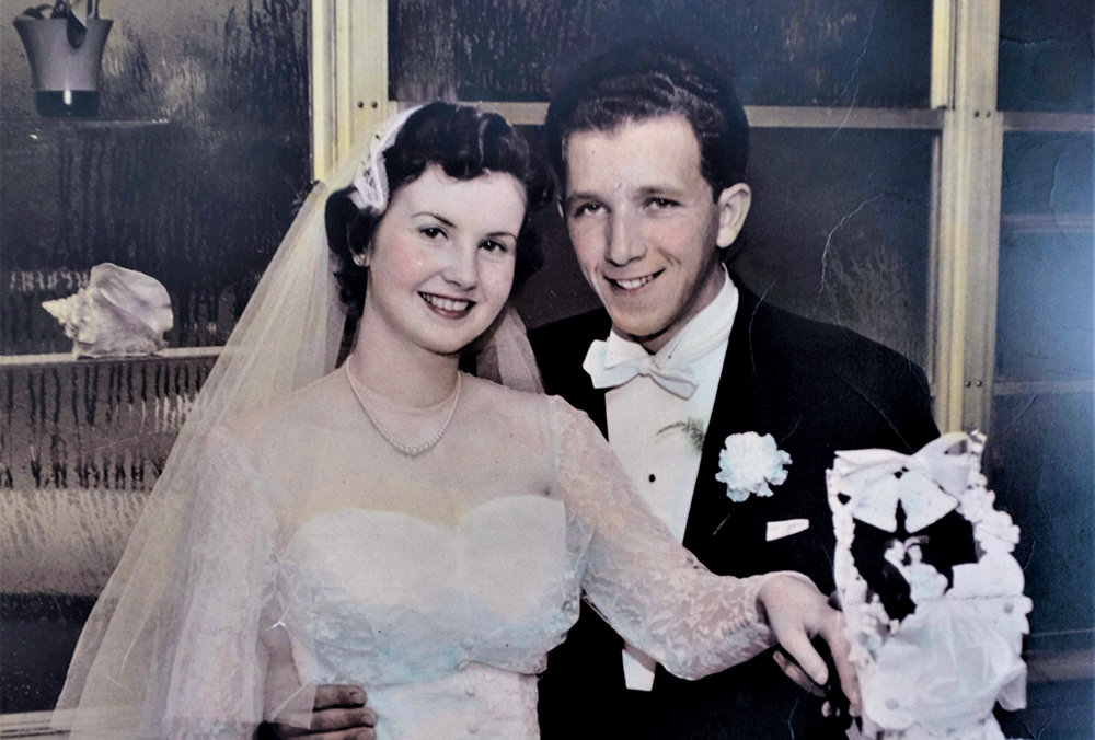 Ruth and James Aurigemma on their wedding day, April 24, 1955.