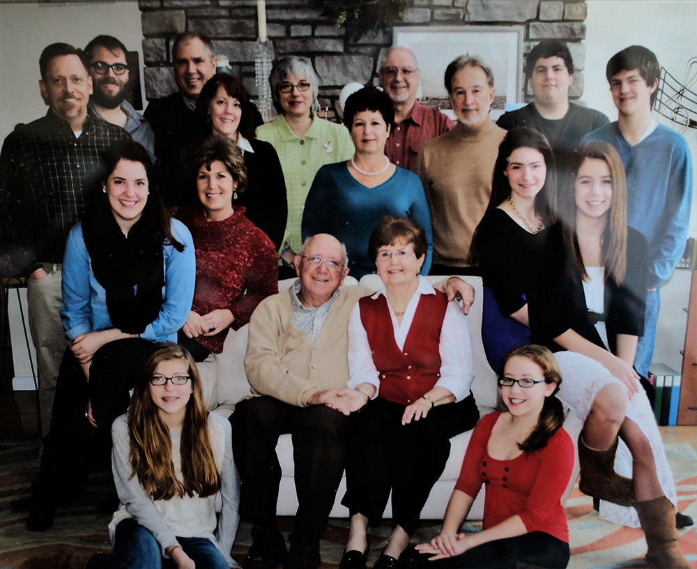 The Aurigemma Clan: top L-R Michael Gammons, Joseph Pedi, Vincent Aurigemma, Maureen Aurigemma, Monica Aurigemma, Jame Aurigemma Jr., Paul Turgeon, Vincent Pedi and Vincent Aurigemma middle row L-R Caroline Aurigemma, Dr. Rosemarie Aurigemma, Patricia Aurigemma, Melissa Aurigemma and Kaleigh Gammons seated L-R Rebecca Ruth Aurigemma, James and Ruth and Audrey Helen Gammons.