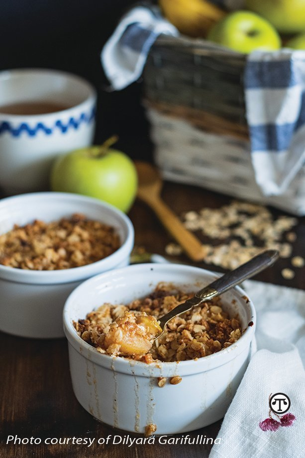 Apple crisp is a healthy and delicious alternative to Halloween candy.