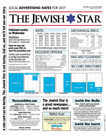 Jewish Star Rate Card 2017