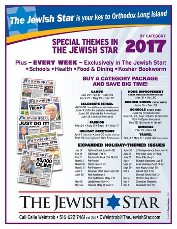 Jewish Star Schedule 2017 by Category