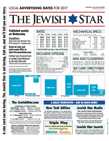 The Jewish Star Net Rate Card 2017