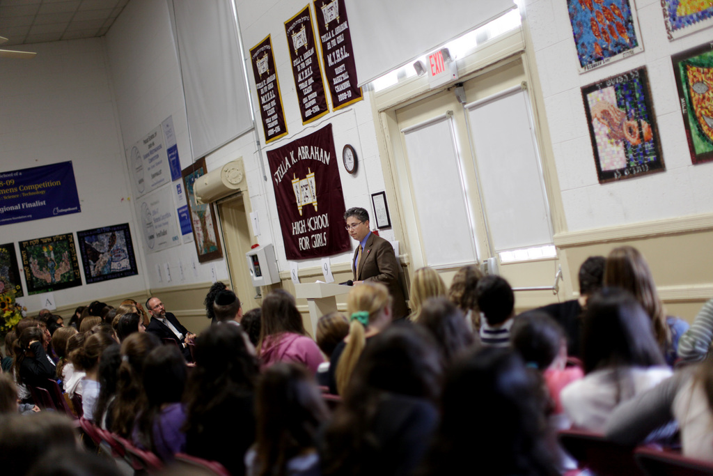 Jay Feinberg, founder and director of the Gift of Life Bone Marrow Foundation, speaks to students at the Stella K. Abraham High School for Girls in Hewlett, Monday, Sept. 13, 2010. Feinberg is a lukemia survivor who started his foundation to maintain the screening networks that he and his family established among Jewish communities throughout the world after Feinberg was diagnosed with the disease in the 1990s.