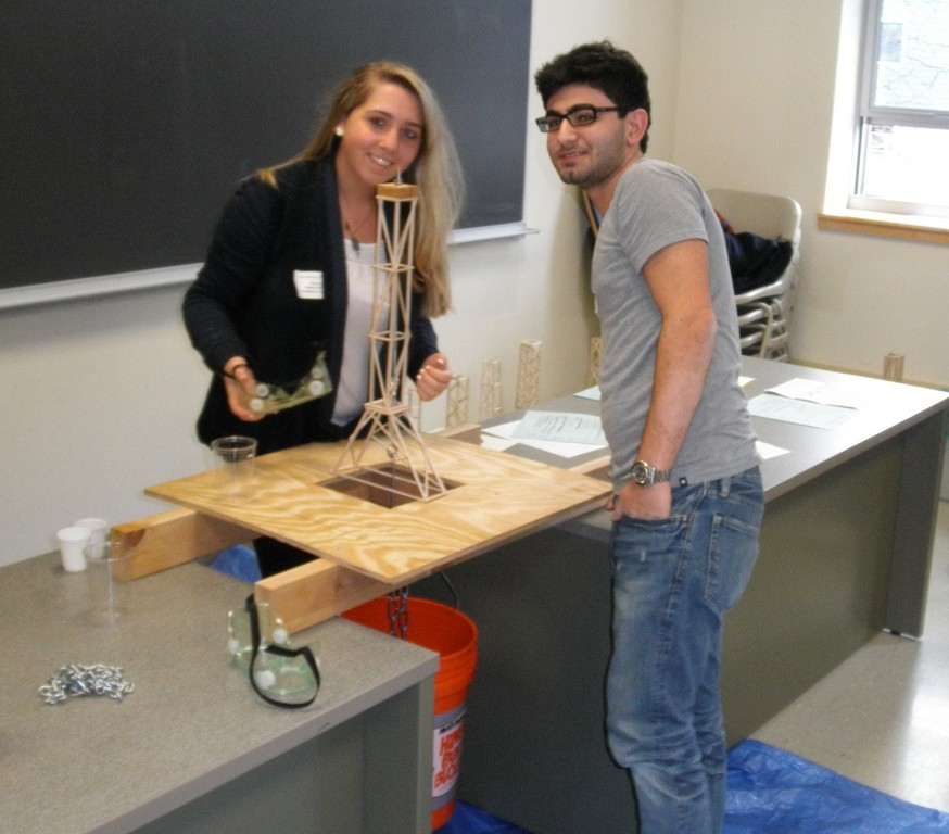 NSHA students Arielle Fisher and Jake Mor with their first place winning tower design.