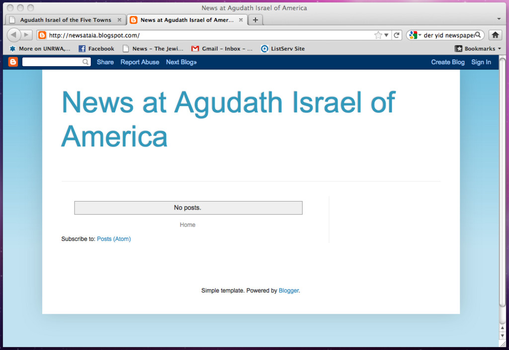 The blank page on the Agudath Israel of America blog