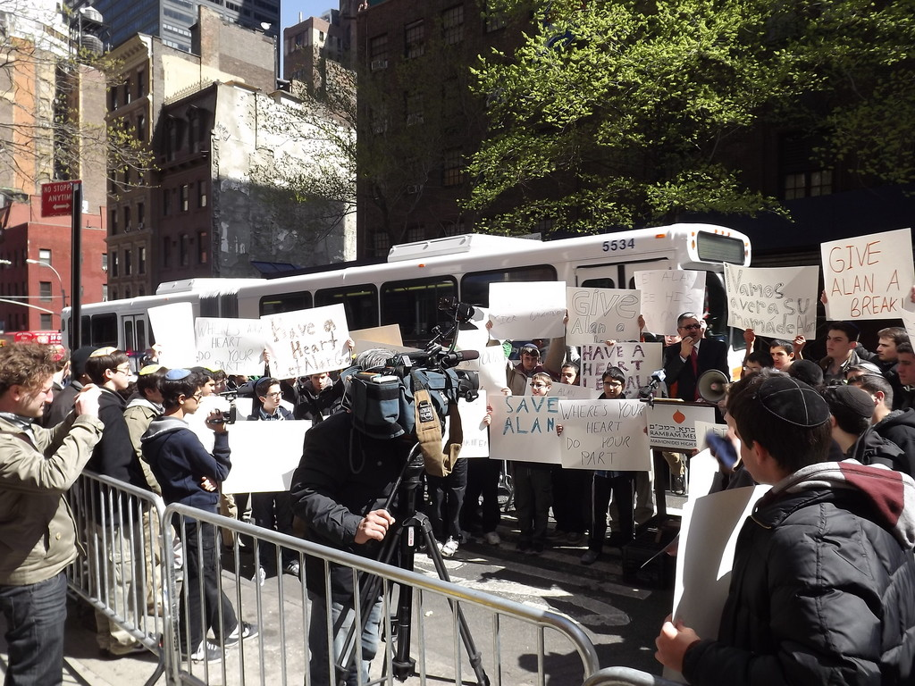 Rambam students rally by the Cuban Mission to the UN for the release of U.S. citizen Alan Gross from Cuban prison.