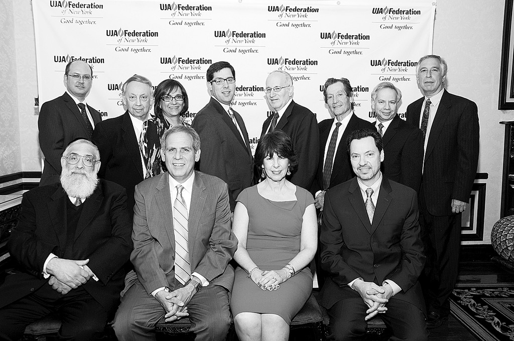 UJA – Federation South Shore healthcare Professionals Dinner. Top Row:  Dr. Neil Smith, Dr. Myron Boxer, Dr. Miriam Slomovits, Dr. Jeffry Beer (Chair), Dr. Steven Mermelstein (chair), Dr. Mel Young, Dr. Abraham Herzberg, and Dr. Leonard Schiffman (chair) Bottom Row: Honorees:Rabbi Tzvi Flaum, Dr. Steven Kresch, Dr. Esther Lipstein–Kresch, Dr. Perry Stein.