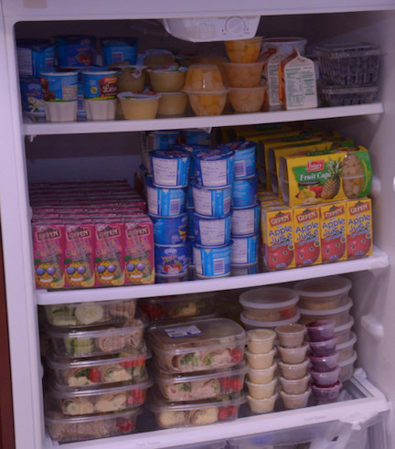 The Shabbat room refrigerator at Mercy is well stocked, thanks to deliveries from Gourmet Glatt.