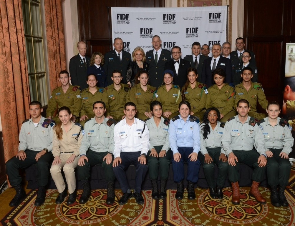 Lt. Tova Abebe, front row, third from right, with IDF representatives at the FIDF national Gala.