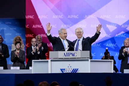 Prime Minister Netanyahu and AIPAC President Michael Kassen, at AIPAC