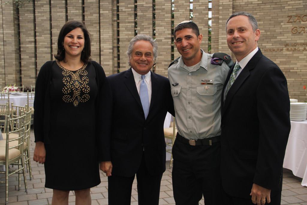 FIDF Long Island Director Liron Kreitman, Emcee Ben Brafman, Major Benny Meir and Executive Director Richard Goldstein.