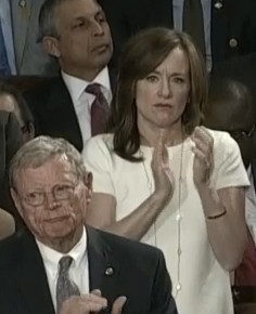 South Shore Rep. Kathleen Rice applauds Prime Minister Netanyahu during his speech on Tuesday in Congress.
