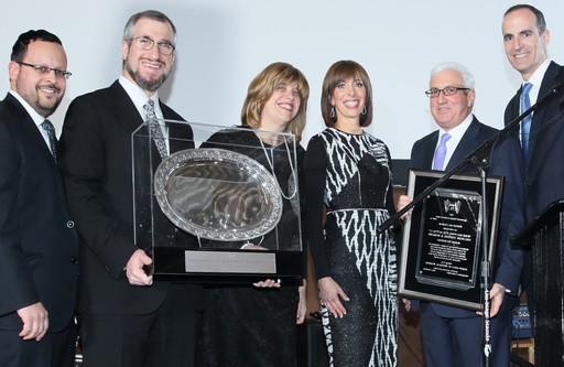 From left: Rabbi Plotkin, Rabbi Kaminetsky, Helen Spirn, Sharon and Jeffrey Frieling, and HALB President Lance Hirt.