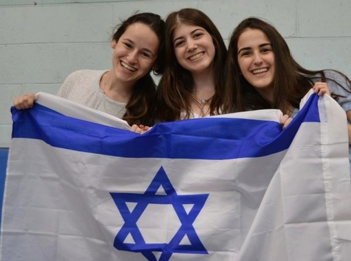 Students at the Hebrew Academy of Nassau County High School celebrate Yom Haatzmaut.
