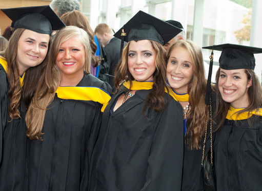 Graduates from Touro College School of Health Sciences Speech Language Program, from left: Jillian Finnegan, of Woodside; Samantha Dean, of West Islip.; Sherrie Wohl, of Melville; Alexandra Heller, of Forest Hills; and Christine Schraier, of Brooklyn.