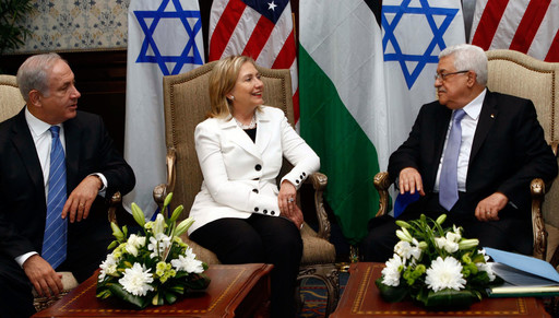 Secretary of State Hillary Clinton hosts direct talks between Palestinian Authority President Mahmoud Abbas and Israeli Prime Minister Benjamin Netanyahu in Sharm El Sheikh, Egypt, on Sept. 14, 2010.