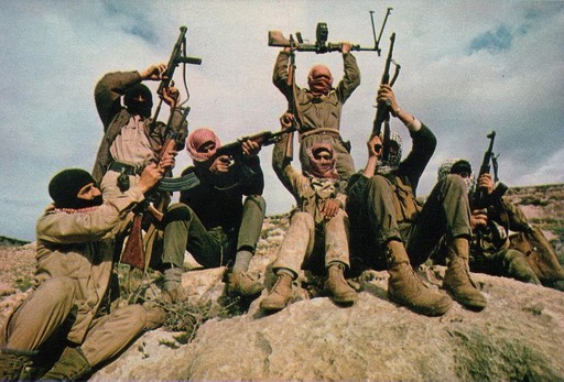 Members of the Popular Front for the Liberation of Palestine (PFLP) terror group pictured flaunting their weapons in the mountains east of the Jordan River.
