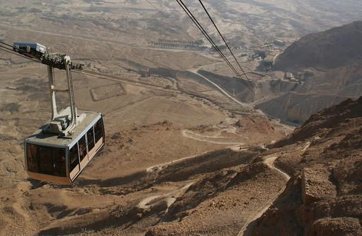 Cable car at Masada fortress, one of Israel's most popular destinations.