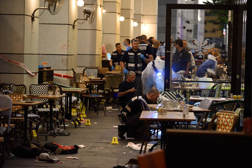 Israeli security forces at the scene where a suspect terrorist opened fire at the Sarona Market shopping center in Tel Aviv, on June 8. The suspect shot and killed four people.
