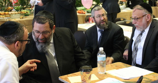 During Darchei Torah's successful simcha fund campaign (from left): Rabbi Zev Bald, Rav Yaakov Bender, Rabbi Dovid Morgenstern, and Rabbi Avraham Schachter.