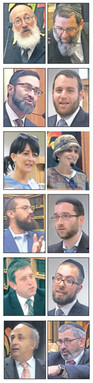 More than 30 speakers participated in Sunday's event. Some of them, pictured at the conference, are shown here. Left column from top: Closing keynote speaker Rabbi Mordechai Willig, Rabbi Eytan Feiner, Mrs. Esther Wein, Dr. David Mark, Rabbi Jonathan Muskat, Dr. David Pelcovitz. Right column from top: Opening keynote speaker Rabbi Yaakov Bender (file photo), Rabbi Tsvi Selengut, Rebbetzin Shani Taragin, Rabbi Robby Charnoff, Rabbi Isaac Rice, and Rabbi Zev Meir Friedman.