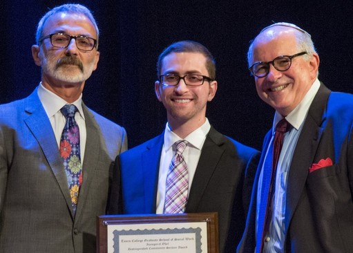 Benedek is flanked by Ohel CEO David Mandel (left) and the founding dean of Touro's GSSW, Dr. Steven Huberman.