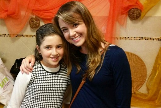 Elie Schiff with Noa Meir, daughter of Dafna Meir, at Noa's bat miztvah.