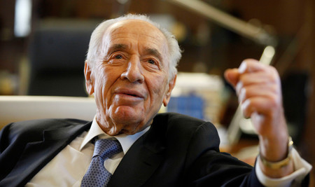 Shimon Peres during interview at the president's residence in Jerusalem, April 10, 2013.