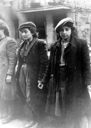 Jewish women resistance fighters captured by the Germans during the Warsaw Ghetto uprising, 1943.