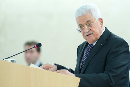 Mahmoud Selman Abbas, President of the State of Palestine during a Special Session of the Human Rights Council in October 2015.