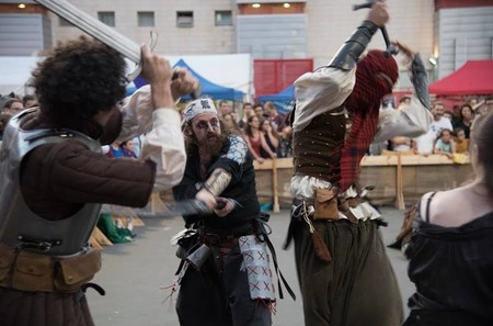 Role-playing fighters clashing at the Icon Festival in Tel Aviv.