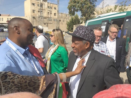 Kenneth Meshoe (right) of the African Christian Democratic Party, on a visit to Hebron this week.