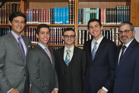 From left: Noah Schwartz, Avi Orlow, Ariel Blumstein, Joseph Silverstein, and Rabbi Zev Meir Friedman.