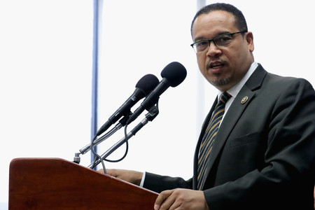 Rep. Keith Ellison, D- Minn., at a news conference at the National Press Club in Washington, May 24, 2016.
