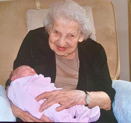 Irene Twersky and great, great granddaughter.