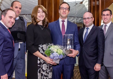 From left: Gala co-chair David Burg, Sruli Greenberger, guests of honor Guitty and Yoel Goldfeder, and co-chairs Eli Moskowitz and Michael Greenfield.