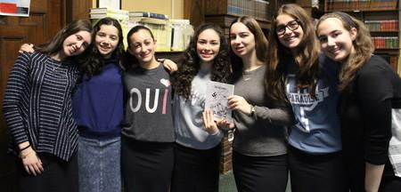 Editors of Resillience magazine at SKA, from left: Talia Wein, Esther Dyckman, Mimi Leifer, Ilana Katz, Nicole Abitan, Aliza Mandelbaum and Zisi Grossman.