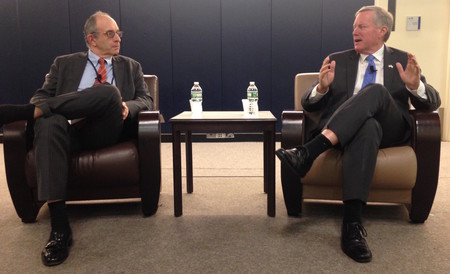 Touro College President Dr. Alan Kadish and Rep. Meadows during a discussion at Lander College for Women.