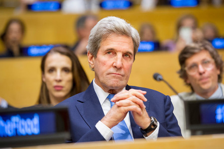 "John Kerry at the screening of the documentary film ""Before the Flood."""