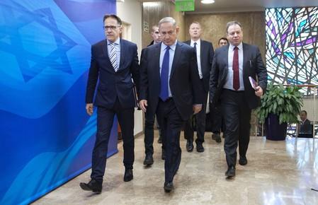 Israeli Prime Minister Benjamin Netanyahu for the weekly cabinet meeting in Jerusalem on Dec. 25.