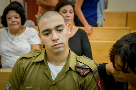 Elior Azaria, the Israeli soldier, who shot a Palestinian terrorist in Hebron, seen during a court on Aug. 30, 2016.