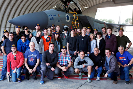 Members of the team representing Israel in the World Baseball Classic and the rest of their delegation visiting the Tel Nof Israeli Air Force base near Rehovot.