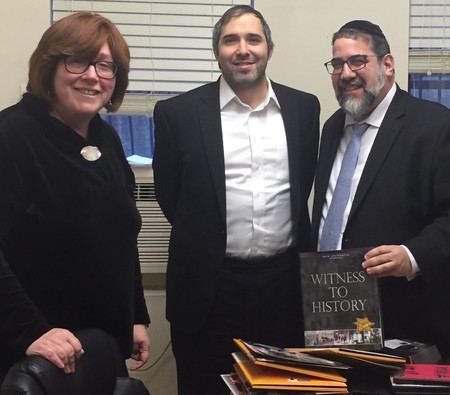 Mrs. Ruth Lichtenstein, director of Project Witness and edior-in-chief and publisher of Hamodia, with Rabbi Moshe Hubner, HAFTR HS rabbi, and HAFTR HS Principal of Judaic Studies Rabbi Gedaliah Oppen.