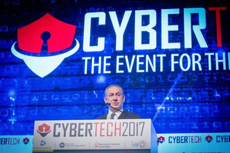 Prime Minister Netanyahu speaks at the Cybertech conference in Tel Aviv.