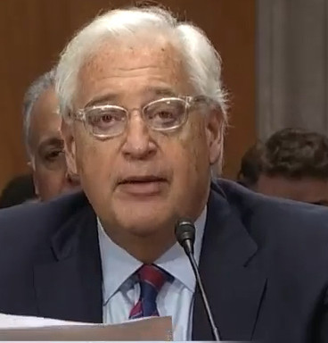 David Friedman facing the Senate Foreign Relations Committee on Feb. 16.