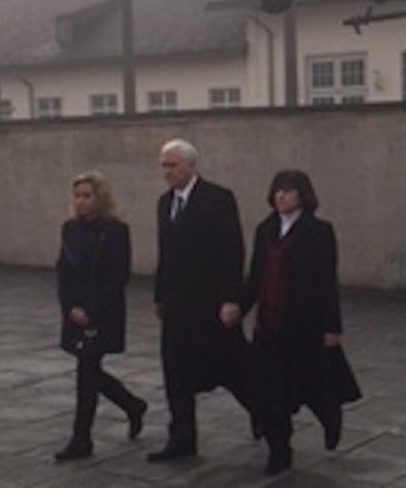 Vice President Mike Pence, with his wife and daughter, after laying a wreath at the International Memorial at the Dachau Nazi camp on Sunday.