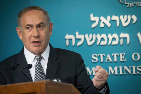 Prime Minister Benjamin Netanyahu speaks during a press conference at the Prime Minister office in Jerusalem on March 14.