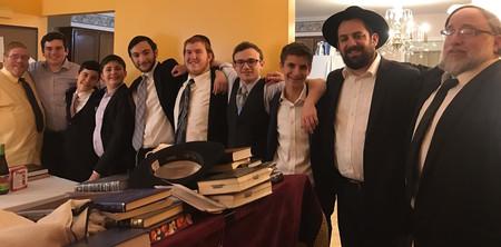 From left: Easton, Pennsylvania, community member, Yehuda Goldblatt; Avi Balsam; Gavriel Toplan, Pinny Verstandig, son of R' Yagod; Ariel Blumstein; Moshe Orlofsky; R' Yaacov Weisenberg; and R' Isaac Yagod.